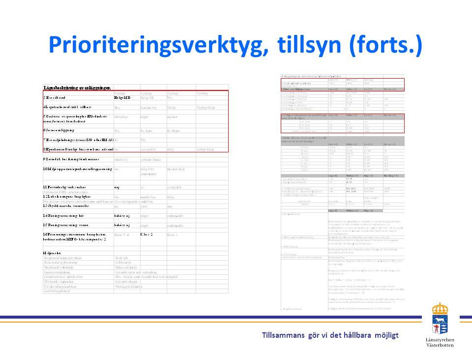 Prioriteringsverktyg, tillsyn (forts.)
