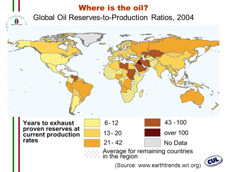 Where is the oil Global Oil Reserves-to-Production Ratios, 2004