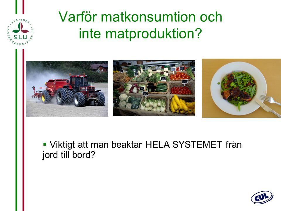 Varför matkonsumtion och inte matproduktion