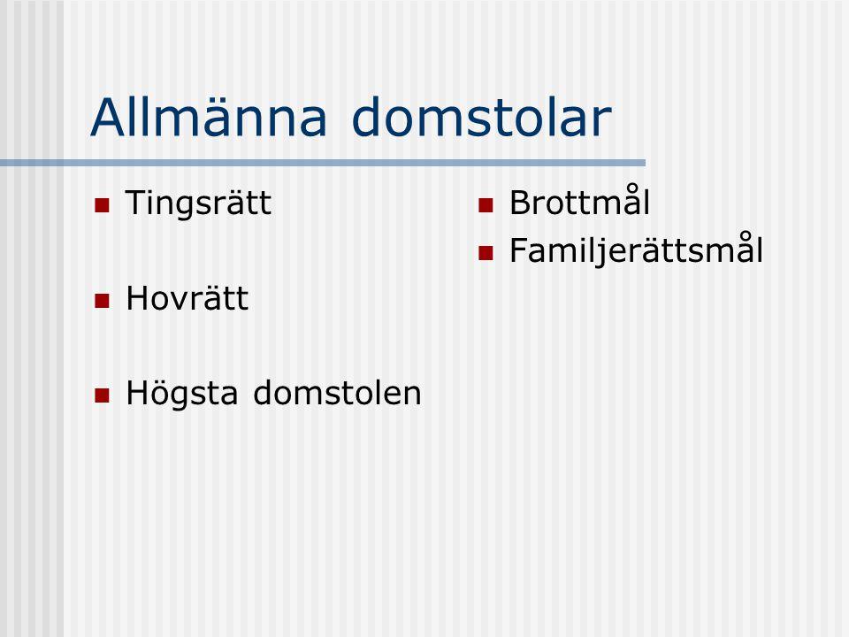 Allmänna domstolar Tingsrätt Hovrätt Högsta domstolen Brottmål