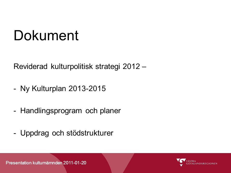 Dokument Reviderad kulturpolitisk strategi 2012 –