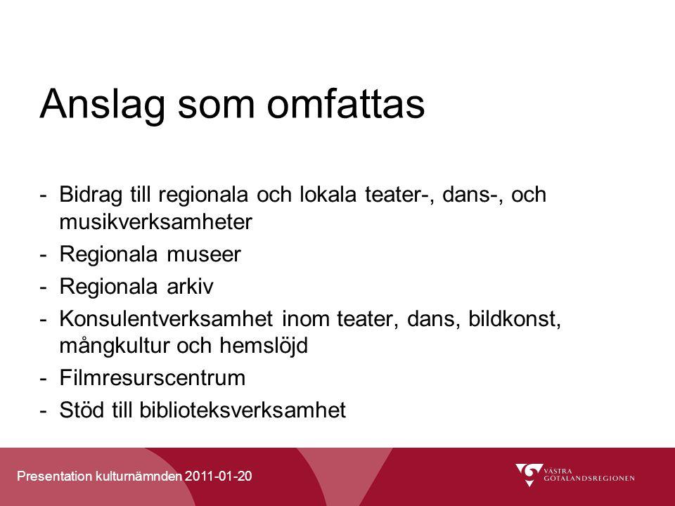 Anslag som omfattas Bidrag till regionala och lokala teater-, dans-, och musikverksamheter. Regionala museer.