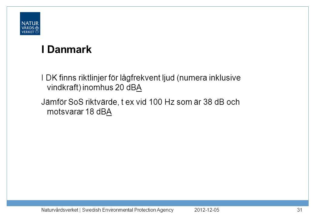 I Danmark I DK finns riktlinjer för lågfrekvent ljud (numera inklusive vindkraft) inomhus 20 dBA.