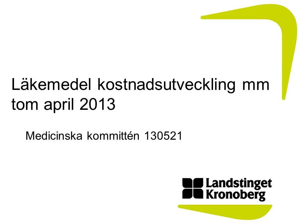 Läkemedel kostnadsutveckling mm tom april 2013