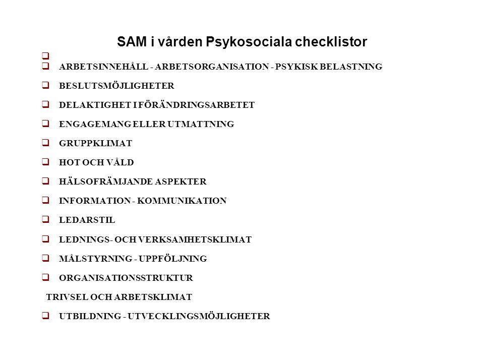 SAM i vården Psykosociala checklistor