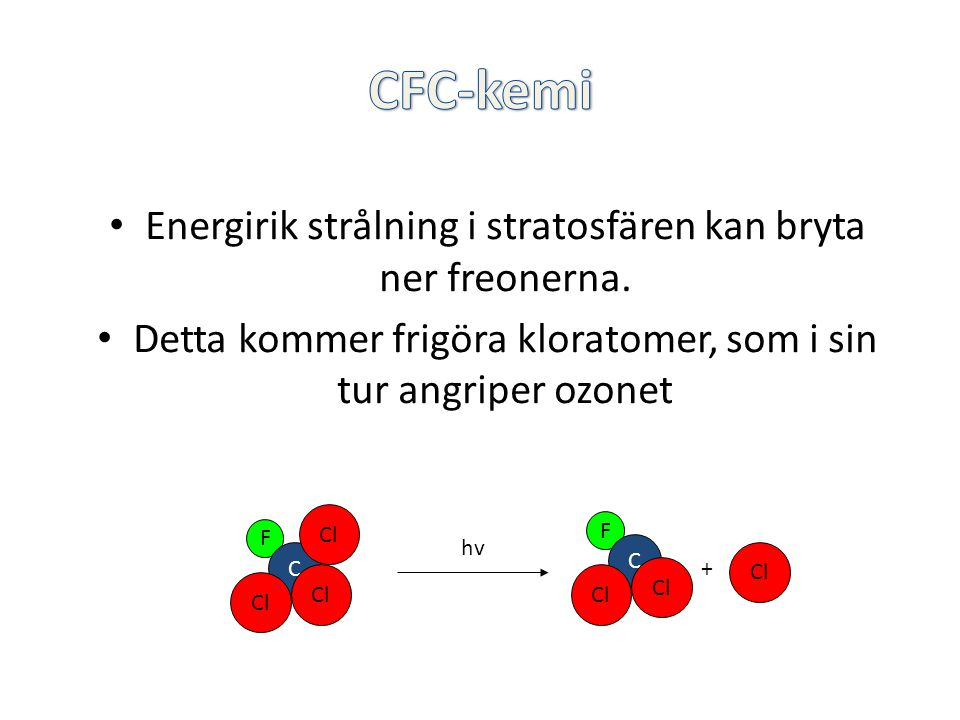 CFC-kemi Energirik strålning i stratosfären kan bryta ner freonerna.