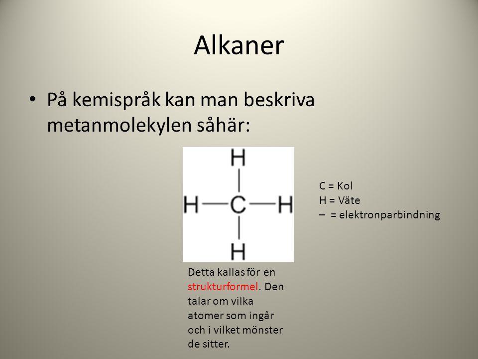 Alkaner På kemispråk kan man beskriva metanmolekylen såhär: C = Kol