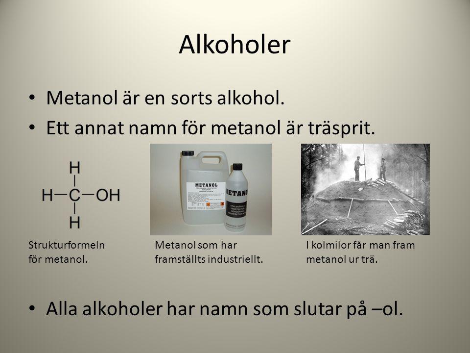 Alkoholer Metanol är en sorts alkohol.