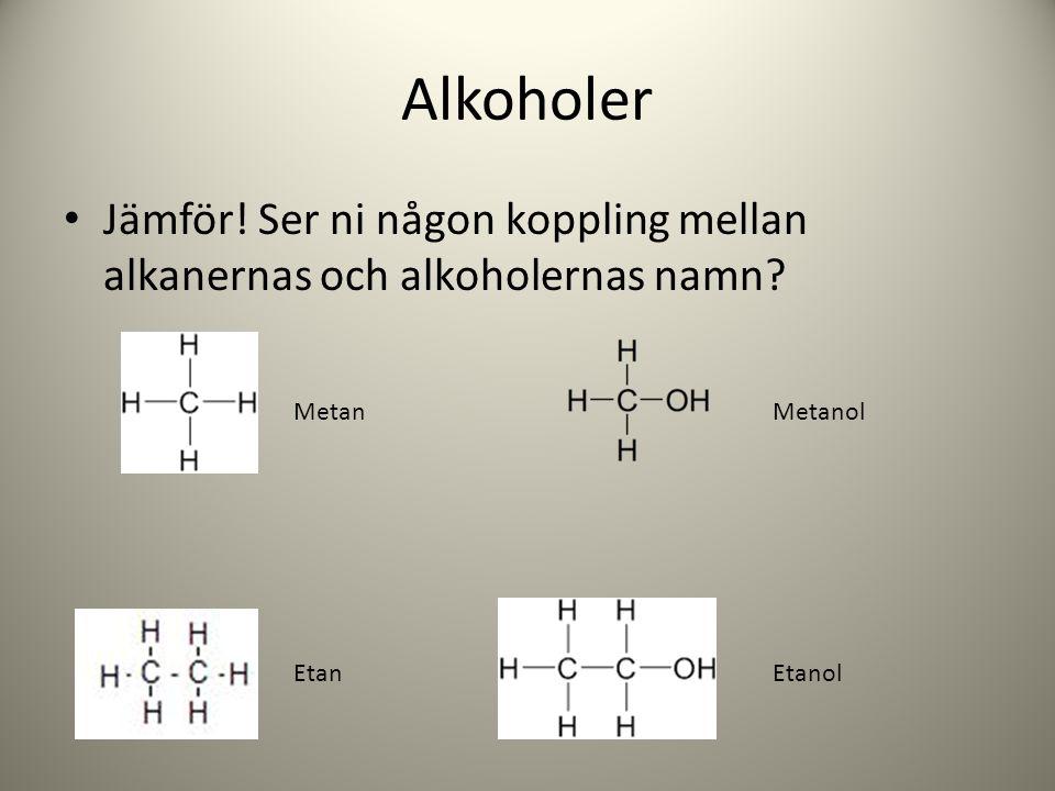 Alkoholer Jämför! Ser ni någon koppling mellan alkanernas och alkoholernas namn Metan. Metanol. Etan.
