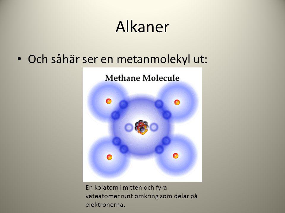 Alkaner Och såhär ser en metanmolekyl ut: