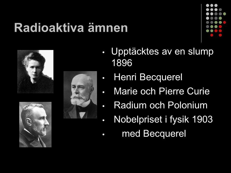 Radioaktiva ämnen Upptäcktes av en slump 1896 Henri Becquerel