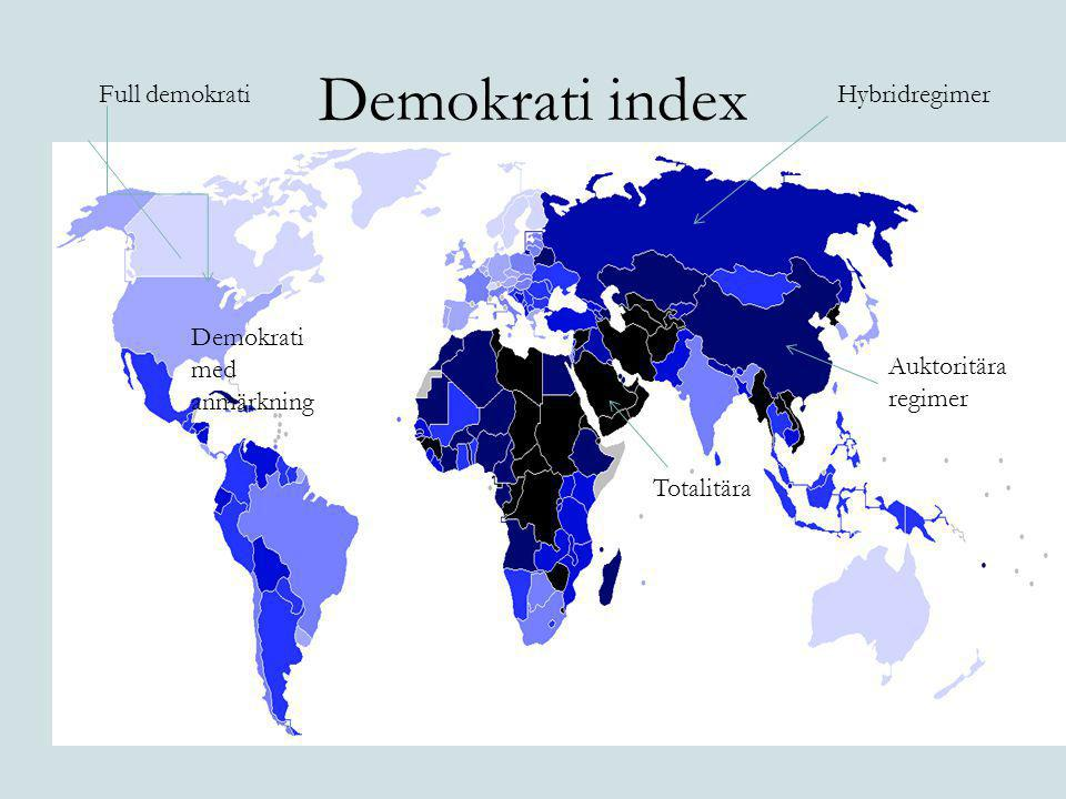 Demokrati index Full demokrati Hybridregimer Demokrati med anmärkning