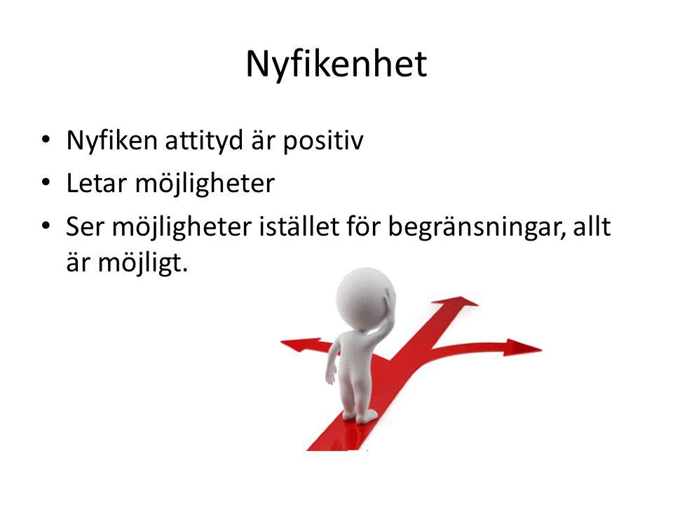 Nyfikenhet Nyfiken attityd är positiv Letar möjligheter