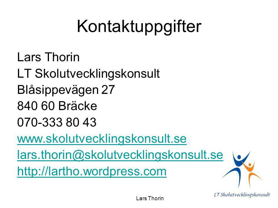Kontaktuppgifter Lars Thorin LT Skolutvecklingskonsult