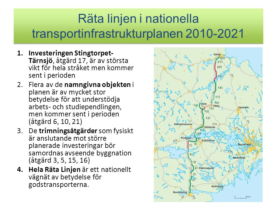 Räta linjen i nationella transportinfrastrukturplanen 2010-2021