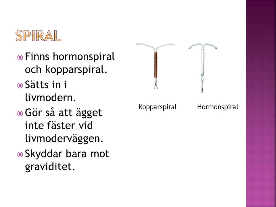 Spiral Finns hormonspiral och kopparspiral. Sätts in i livmodern.