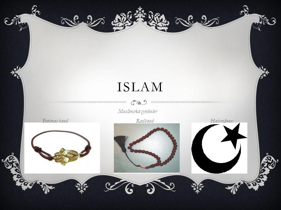 Muslimska symboler Fatimas hand Radband Halvmånen