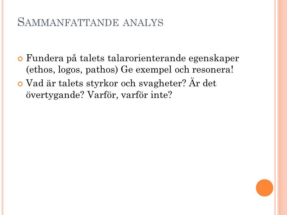 Sammanfattande analys
