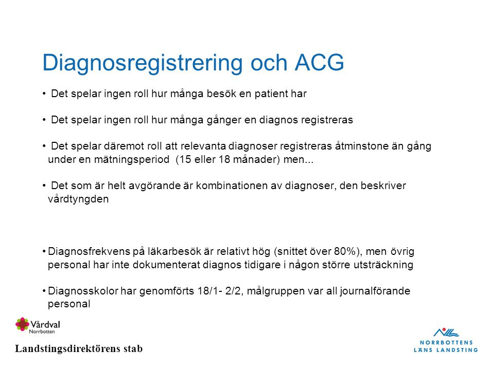 Diagnosregistrering och ACG