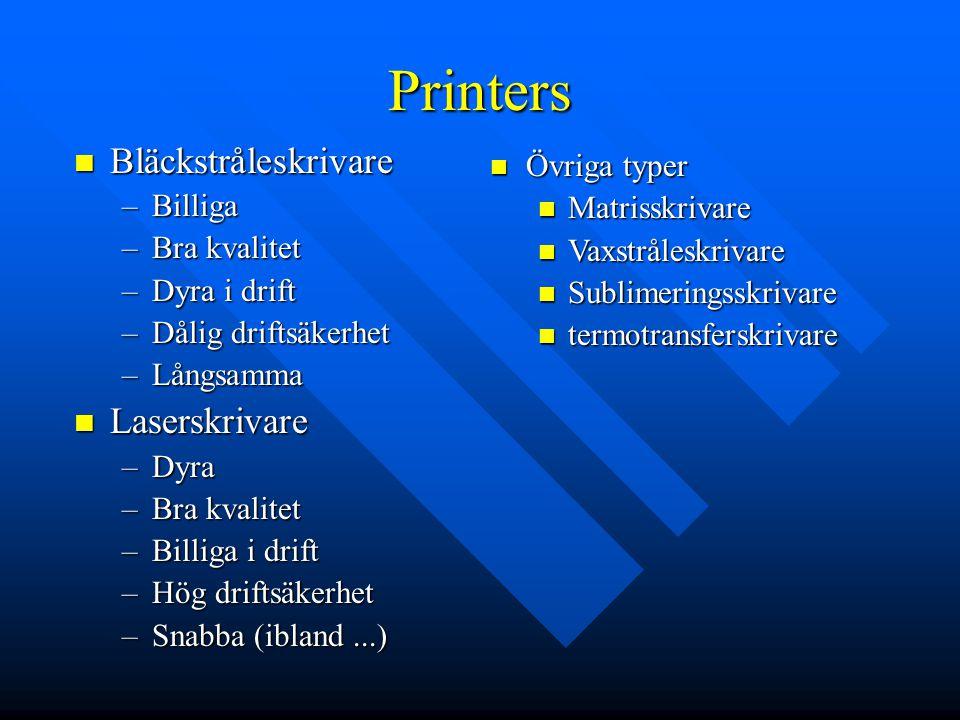 Printers Bläckstråleskrivare Laserskrivare Övriga typer Billiga