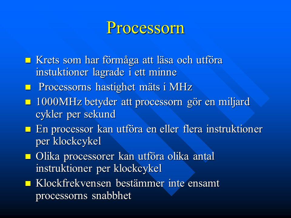Processorn Krets som har förmåga att läsa och utföra instuktioner lagrade i ett minne. Processorns hastighet mäts i MHz.