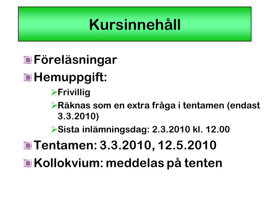 Kursinnehåll Föreläsningar Hemuppgift: Tentamen: 3.3.2010, 12.5.2010