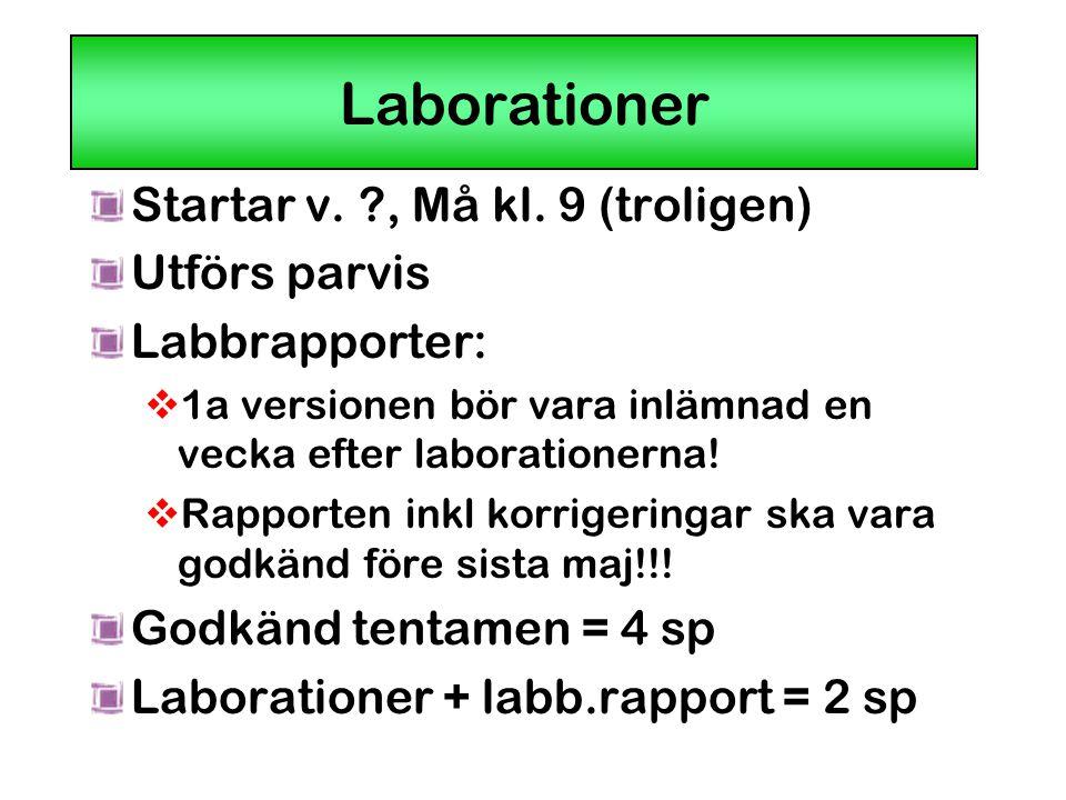 Laborationer Startar v. , Må kl. 9 (troligen) Utförs parvis