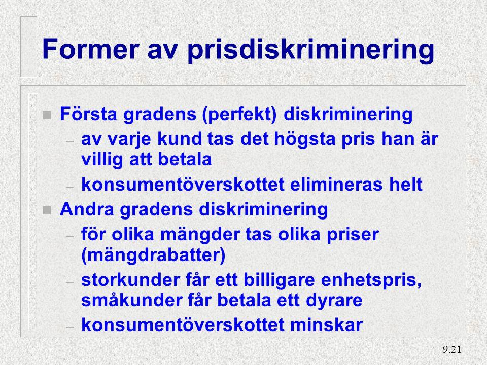 Första gradens prisdiskriminering – total assimilering av konsumentöverskottet