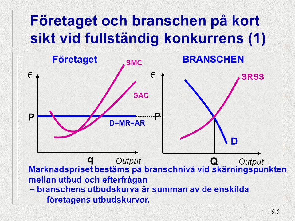 Företaget och branschen på kort sikt vid fullständig konkurrens (2)