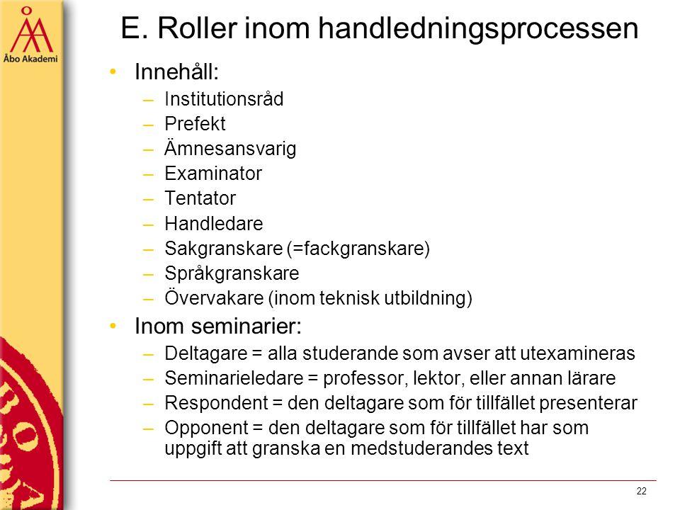 E. Roller inom handledningsprocessen