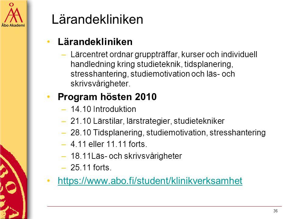 Lärandekliniken Lärandekliniken Program hösten 2010