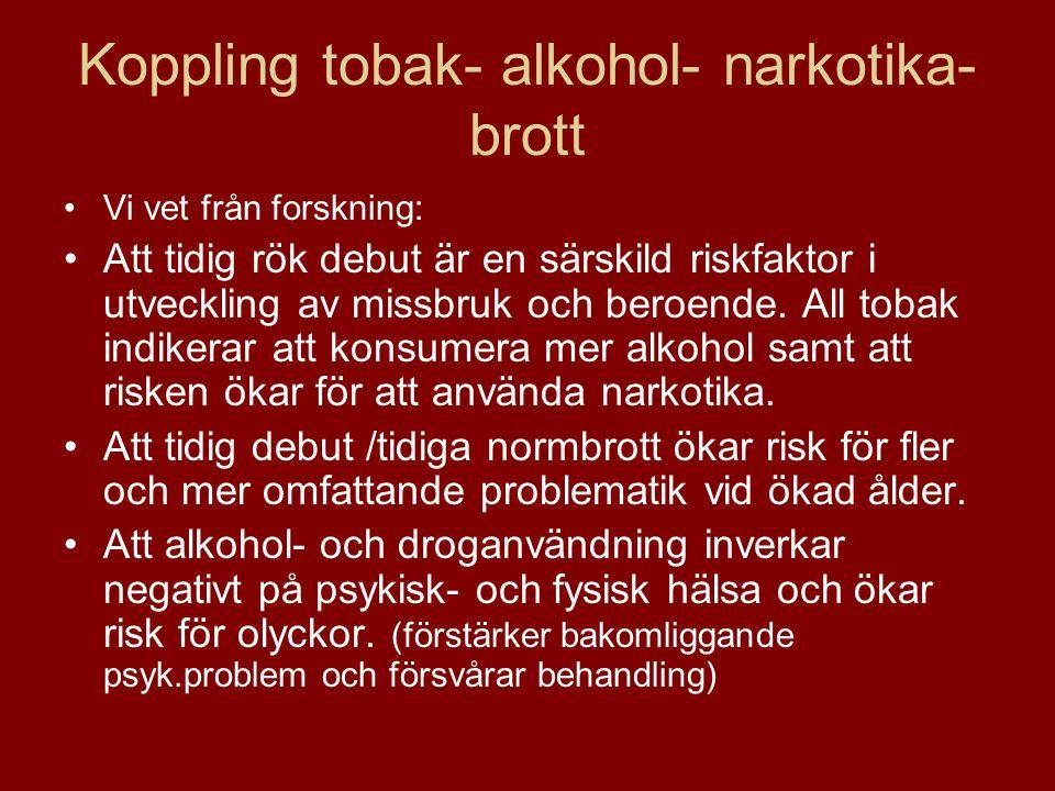 Koppling tobak- alkohol- narkotika-brott