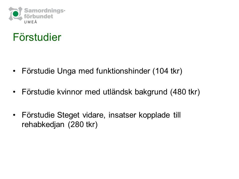 Förstudier Förstudie Unga med funktionshinder (104 tkr)