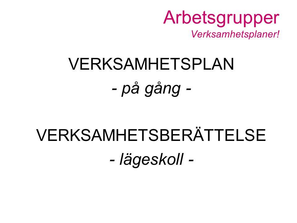 Arbetsgrupper Verksamhetsplaner!