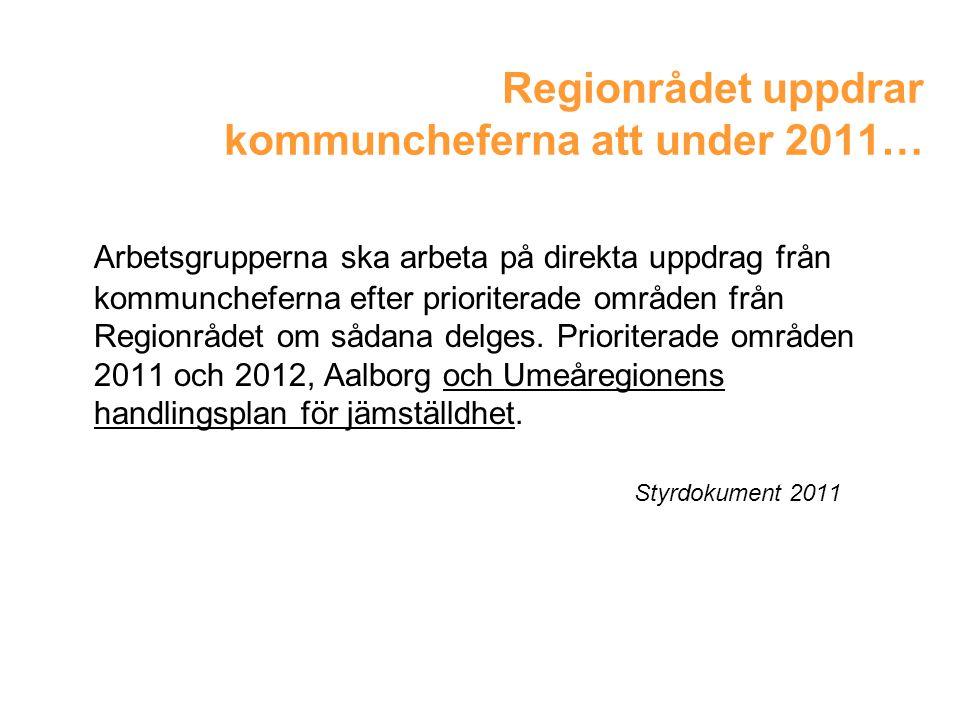 Regionrådet uppdrar kommuncheferna att under 2011…