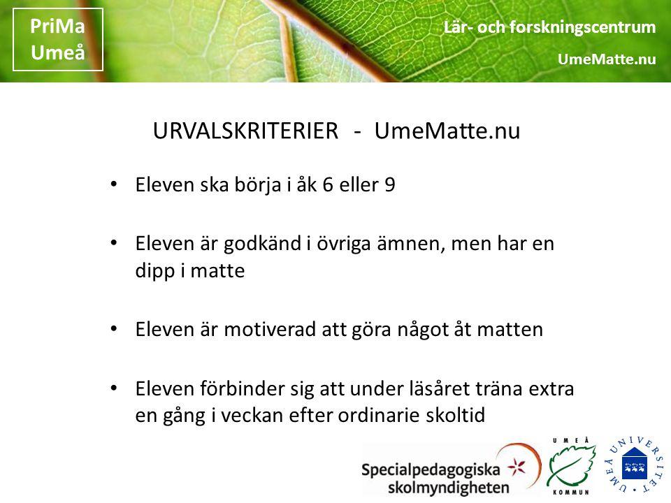 URVALSKRITERIER - UmeMatte.nu