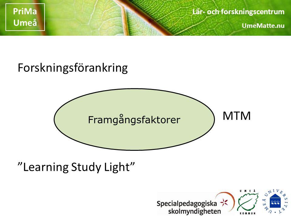 Forskningsförankring MTM Learning Study Light