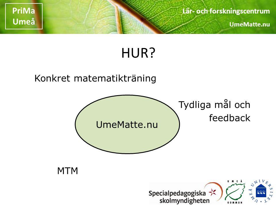 HUR Konkret matematikträning Tydliga mål och feedback MTM UmeMatte.nu