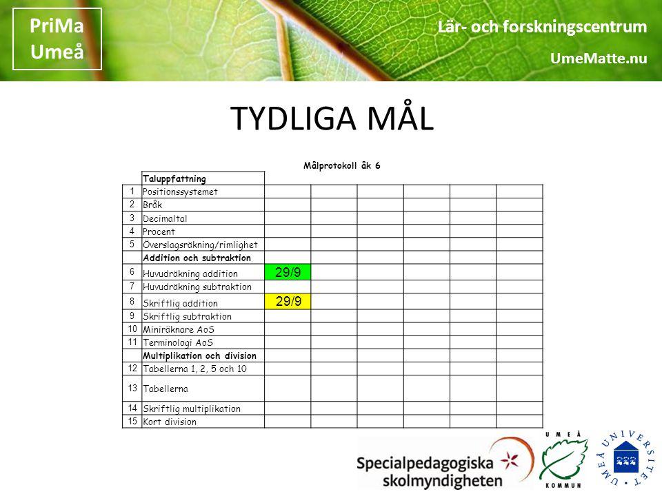 TYDLIGA MÅL 29/9 Målprotokoll åk 6 Taluppfattning 1 Positionssystemet