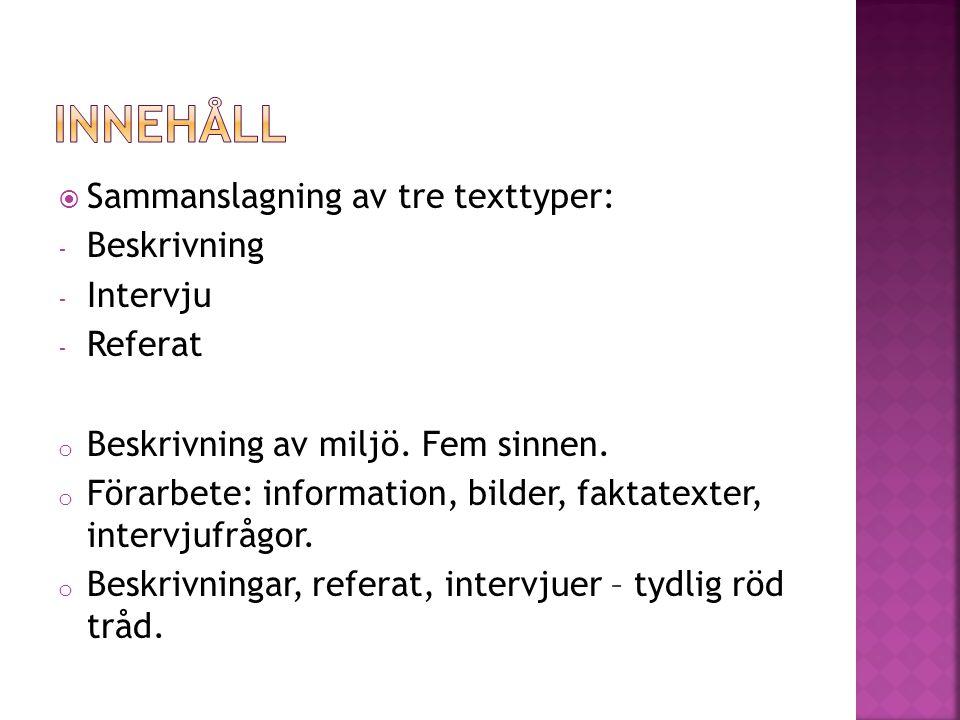 Innehåll Sammanslagning av tre texttyper: Beskrivning Intervju Referat