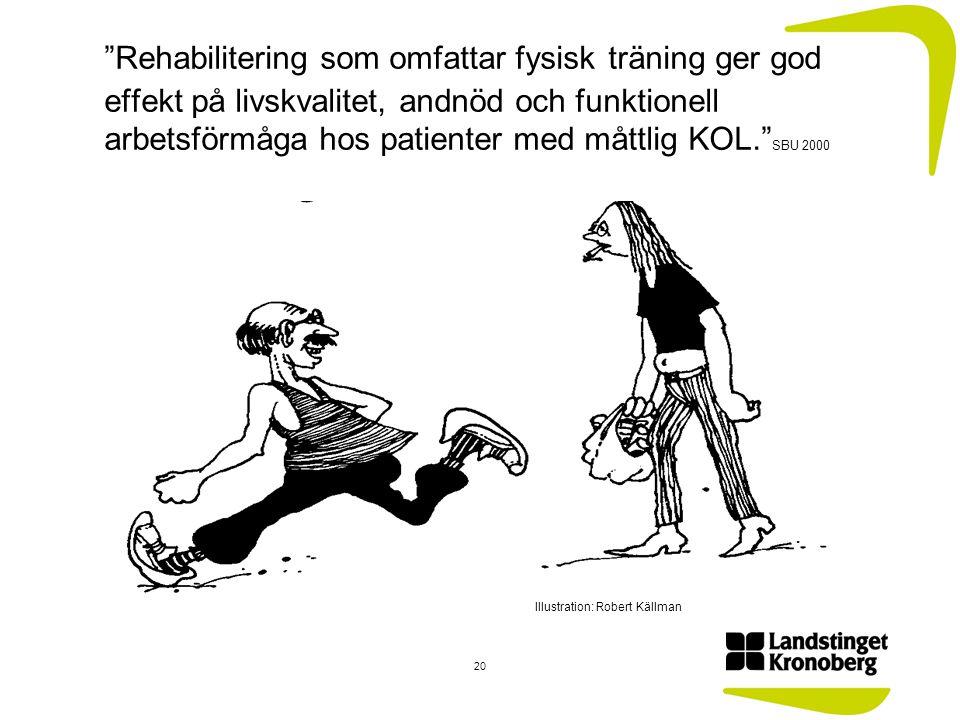 Rehabilitering som omfattar fysisk träning ger god effekt på livskvalitet, andnöd och funktionell arbetsförmåga hos patienter med måttlig KOL. SBU 2000