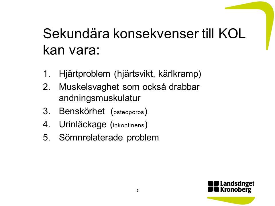 Sekundära konsekvenser till KOL kan vara: