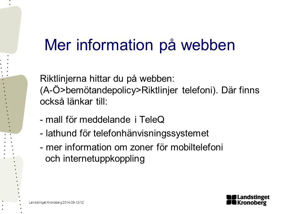 Mer information på webben