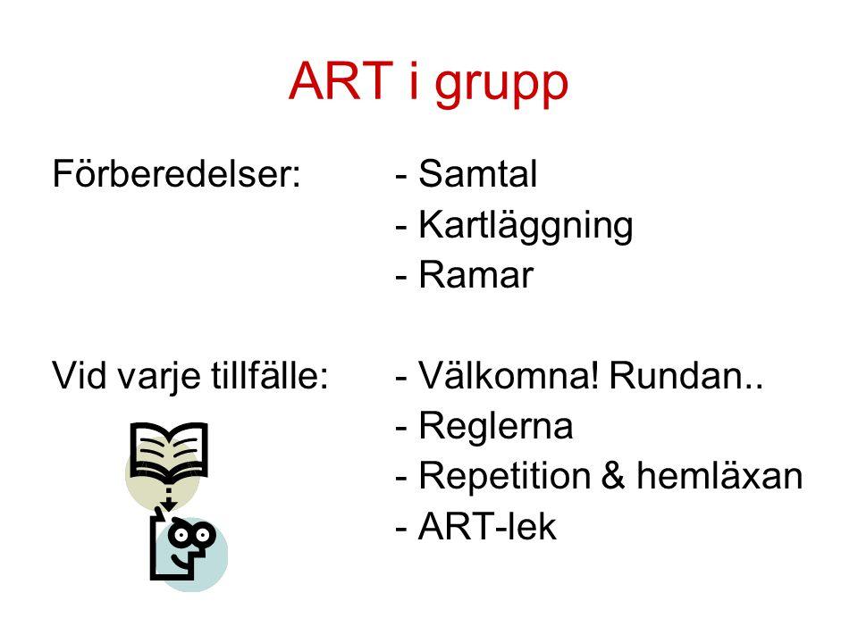 ART i grupp Förberedelser: - Samtal - Kartläggning - Ramar