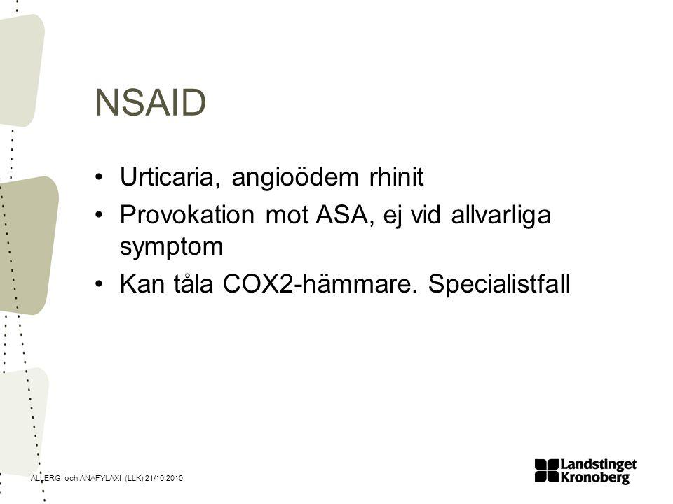 NSAID Urticaria, angioödem rhinit