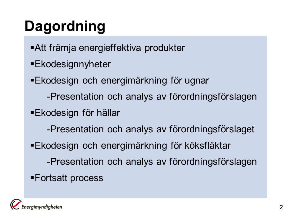 Dagordning Att främja energieffektiva produkter Ekodesignnyheter