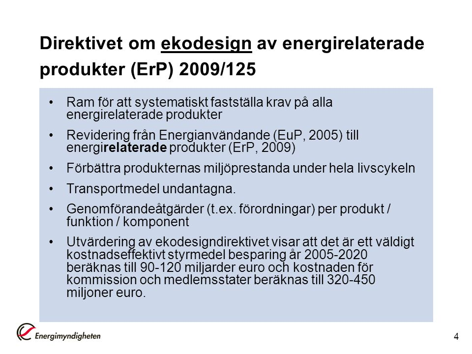 Direktivet om ekodesign av energirelaterade produkter (ErP) 2009/125