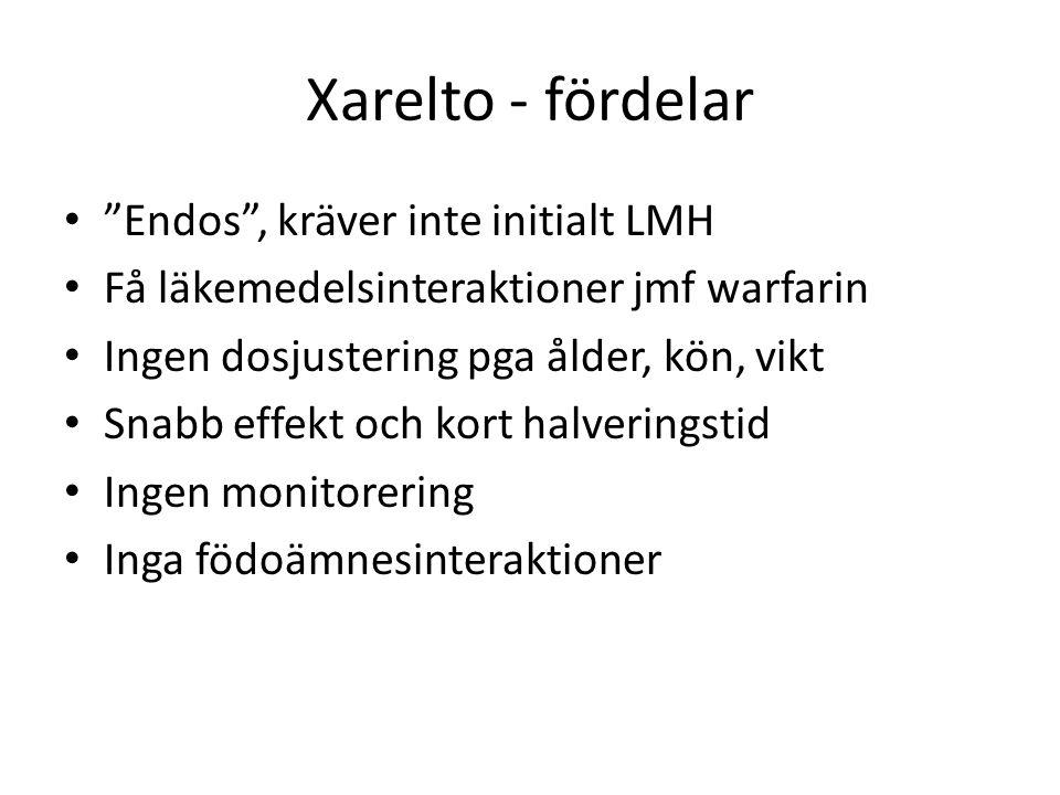 Xarelto - fördelar Endos , kräver inte initialt LMH