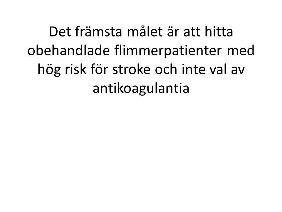 Det främsta målet är att hitta obehandlade flimmerpatienter med hög risk för stroke och inte val av antikoagulantia