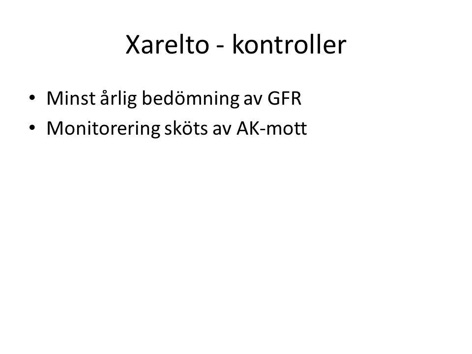 Xarelto - kontroller Minst årlig bedömning av GFR